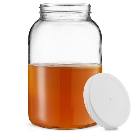 ShopoKus 1-Gallon Glass Jar Wide Mouth with Airtight Plastic Lid - USDA Approved BPA-Free Dishwasher Safe Mason Jar for Fermenting, Kombucha, Kefir, Storing and Canning Uses, Clear (Oven Safe Mason Jars)