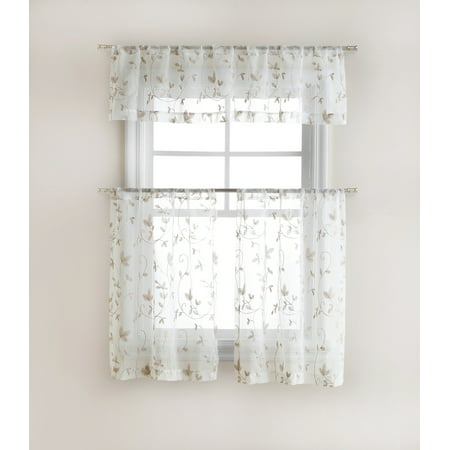 Cassandra Floral Embroidered Semi Sheer Kitchen Curtain Tier & Valance Set - Linen/Taupe