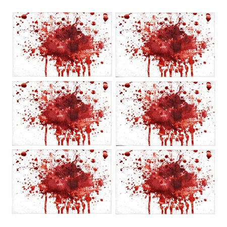 MKHERT Funny Splattered Blood Stain Horror Halloween Theme Placemats Table Mats for Dining Room Kitchen Table Decoration 12x18 inch,Set of 6
