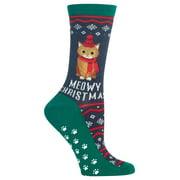 Hot Sox Womens Meowy Christmas Slipper Socks Style-HOH00030