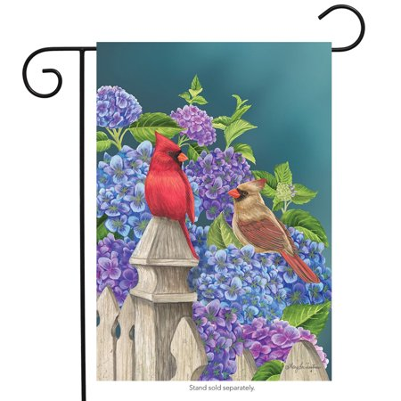 Cardinals and Hydrangeas Spring Garden Flag Fencepost Floral Birds 12.5