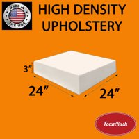 "FoamRush 3 "" H x 24"" W x 24"" L Upholstery Foam Cushion High Density (Chair Cushion Square Foam for Dinning Chairs, Wheelchair Seat Cushion Replacement)"