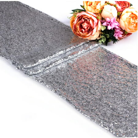 10Pcs Silver Sequin Table Runners, Sparkly Table Cloth Fabric Tablecloth for Wedding Birthday Party Christmas Thanksgiving Baby Shower Banquet Event Dining Room Decoration, 12