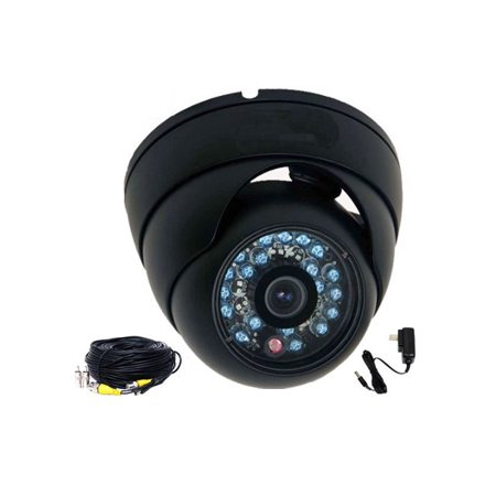 "VideoSecu Vandal Proof Security Camera 600TVL Wide Angle Lens IR Day Night Bulit-in 1/3"" SONY CCD w/ Power and Cable bzg"