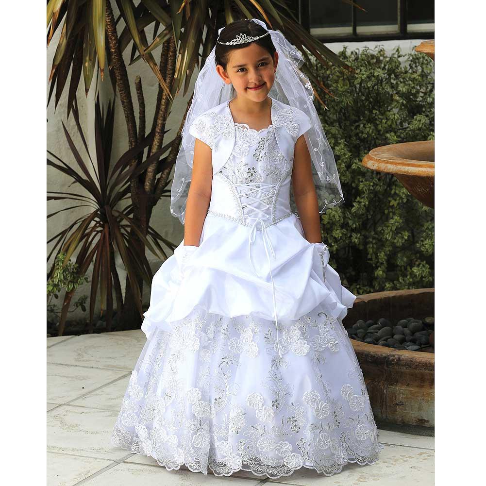 Angels Garment Girl 10 White Bustled Taffeta Holy Communi...
