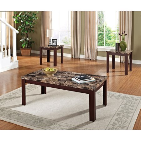 Faux Marble 3 Piece Coffee And End Table Set Multiple