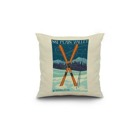Plain Valley Washington Crossed Skis Letterpress Lantern Press Poster