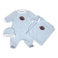 "Baby Boys Blue Football Footie Receiving Blanket Cap Set 28""-34"""