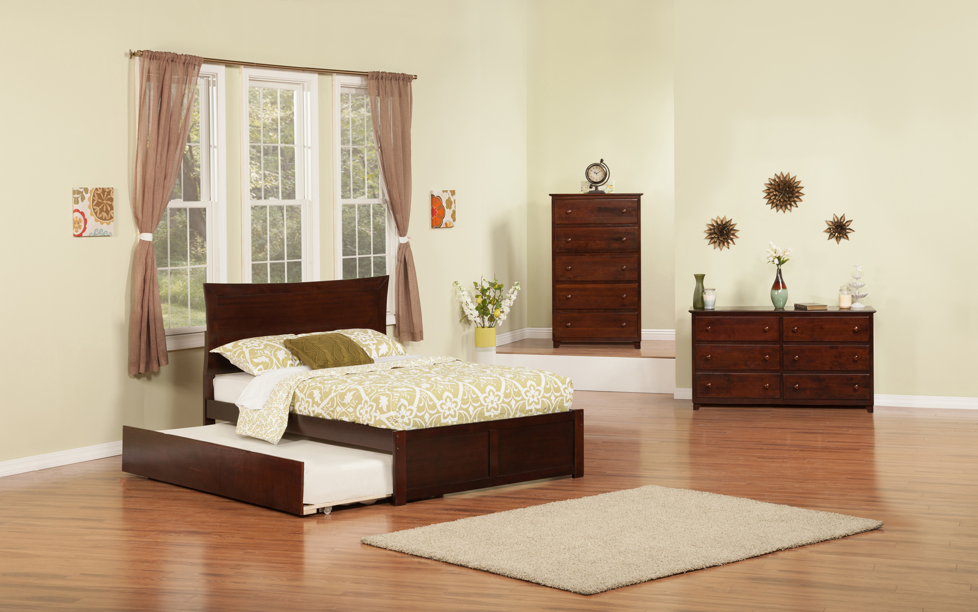 Metro Full Platform Bed with Flat Panel Foot Board and Twin Size Urban Trundle Bed in Walnut by Atlantic Furniture