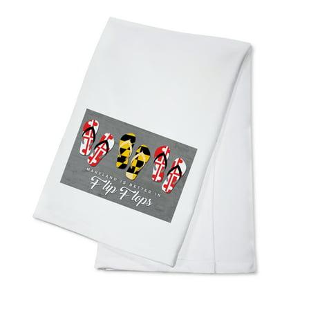 Maryland is Better in Flip Flops - Lantern Press Artwork (100% Cotton Kitchen Towel) (Flip Flop Kitchen)