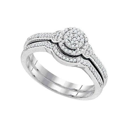 10k White Gold Womens Round Diamond Cluster Bridal Wedding Engagement Ring band Set 1/4 Cttw Diamond Bridal Band Ring