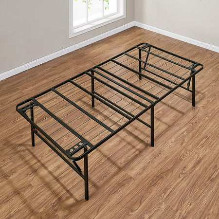 "Mainstays 18"" High Profile Foldable Steel Bed Frame, Powder-Coated Steel"