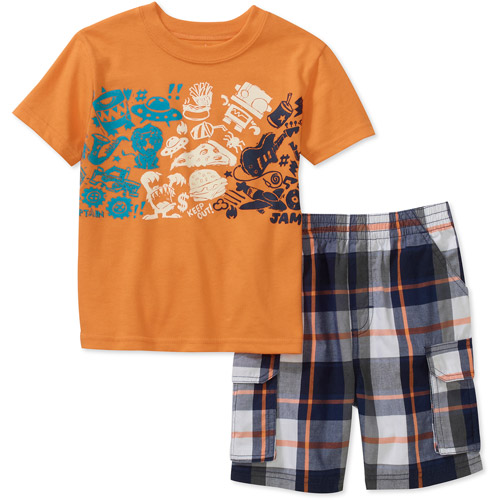 Garanimals Baby Boys' 2-Piece Graphic Tee and Plaid Short Set