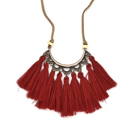 Iuhan Tassel Necklace Women Fashion Jewelry Leather Rope Chain Silk Fabric Boho Choker