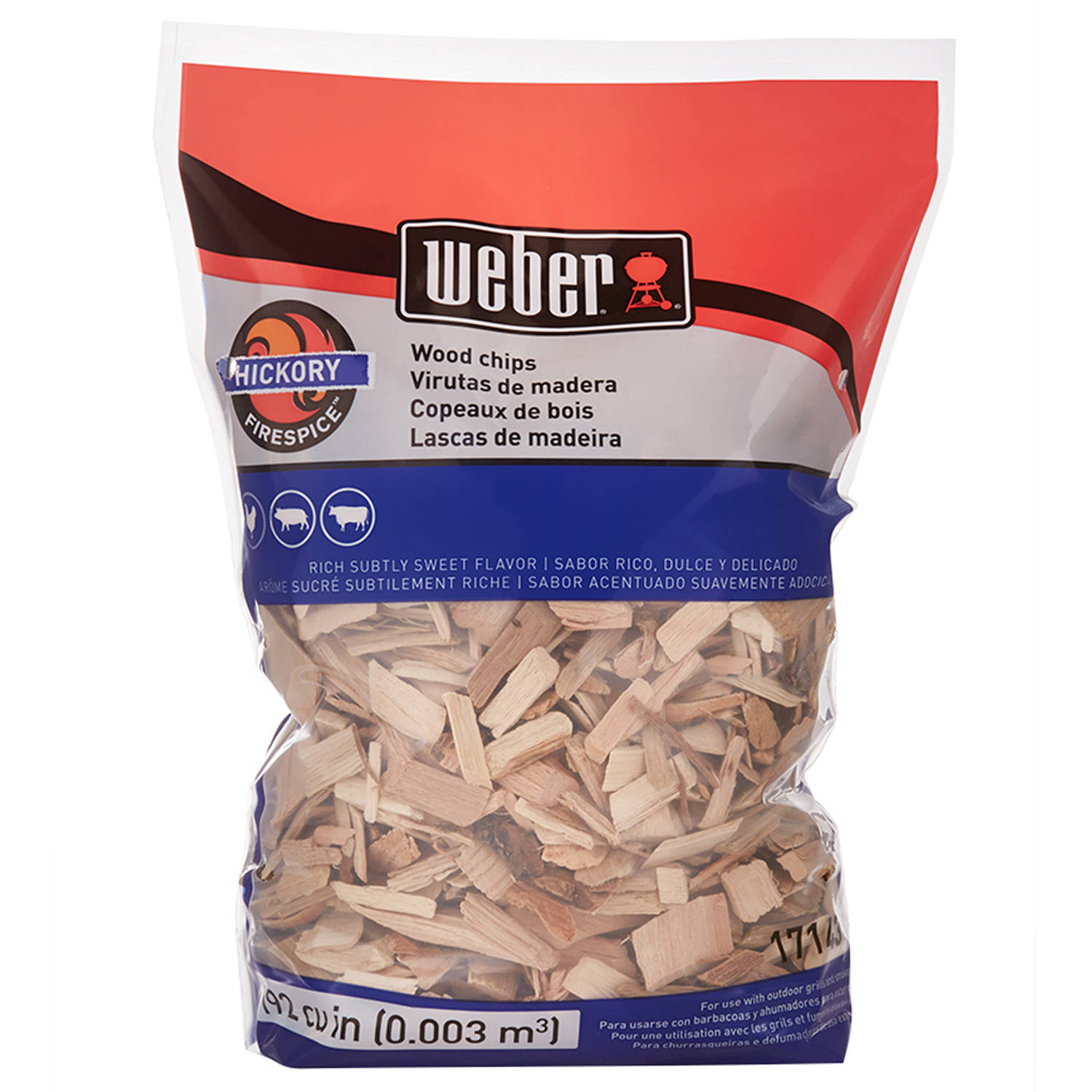 Weber Hickory Wood Chips, 192 Cu. In. bag