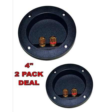 2 PACK SPEAKER ROUND DJ BOX TERMINAL CUP GOLD POST SUBWOOFER CABINET
