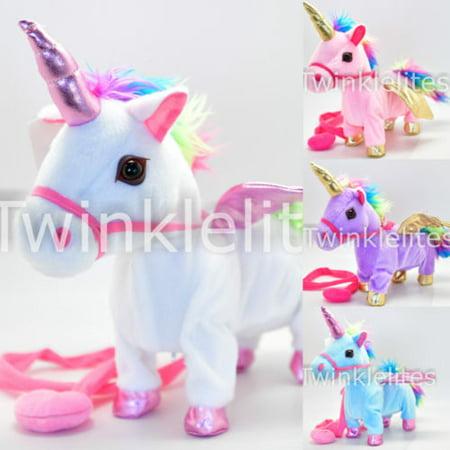 Walking Unicorn Cowboy Musical Singing Toy Plush Doll Horn Unicornio Electronic