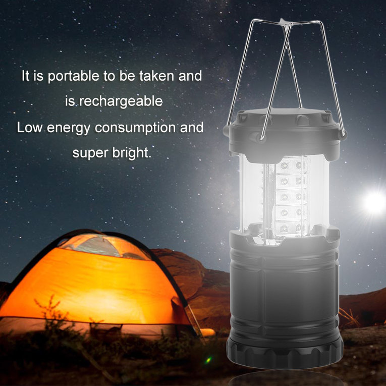 Black 2Pcs 30 Led Outdoor Camping Lantern Portable Waterproof Hiking Light Lamp