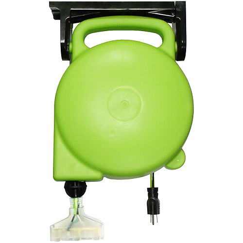 Designers Edge 14/3-Gauge 45' Retractable Cord Reel with Grounded Light-Up Triple Tap, Green
