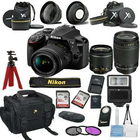 Nikon D3400 24.2 MP DSLR Camera + 18-55mm VR Lens Kit + 70-300mm Zoom Lens +  Accessory Bundle + 2X 32GB Memory + Camera Gadget Bag + Wide Angle Lens + 2x Telephoto Lens + Flash + Remote + Tripod + Fi