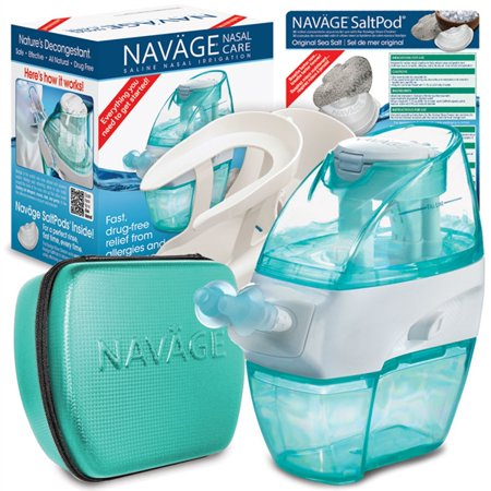Navage Nasal Irrigation Deluxe Bundle  Nav Ge Nose Cleaner  50 Saltpod Capsules  Countertop Caddy  And Travel Case   155 75 If Purchased Separately  You Save  35 80  23