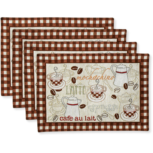 Better Homes and Gardens Placemats, Set of 4, Coffee Tapestry