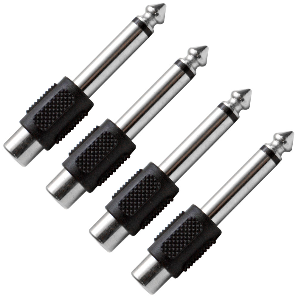 "Seismic Audio  4 Pack RCA Female to 1/4"" TS Male Adapters Audio Cable Converters - SAPT100-4Pack"