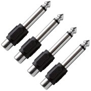 """Seismic Audio  4 Pack RCA Female to 1/4"""" TS Male Adapters Audio Cable Converters Black - SAPT100-4Pack"""