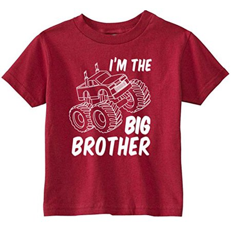 Truck Short - Lil Shirts Big Brother Monster Truck Youth and Toddler Shirt,Red,3T