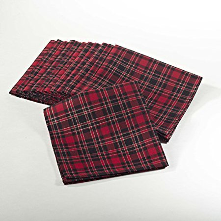 Highland Holiday Plaid Napkins, 20-inch Square, Set of 4](Christmas Tablecloths And Napkins)