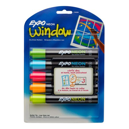 Fluorescent Dry Erase Markers (Expo® Neon Dry Erase Marker, Bullet Tip, Assorted, 5/Set)