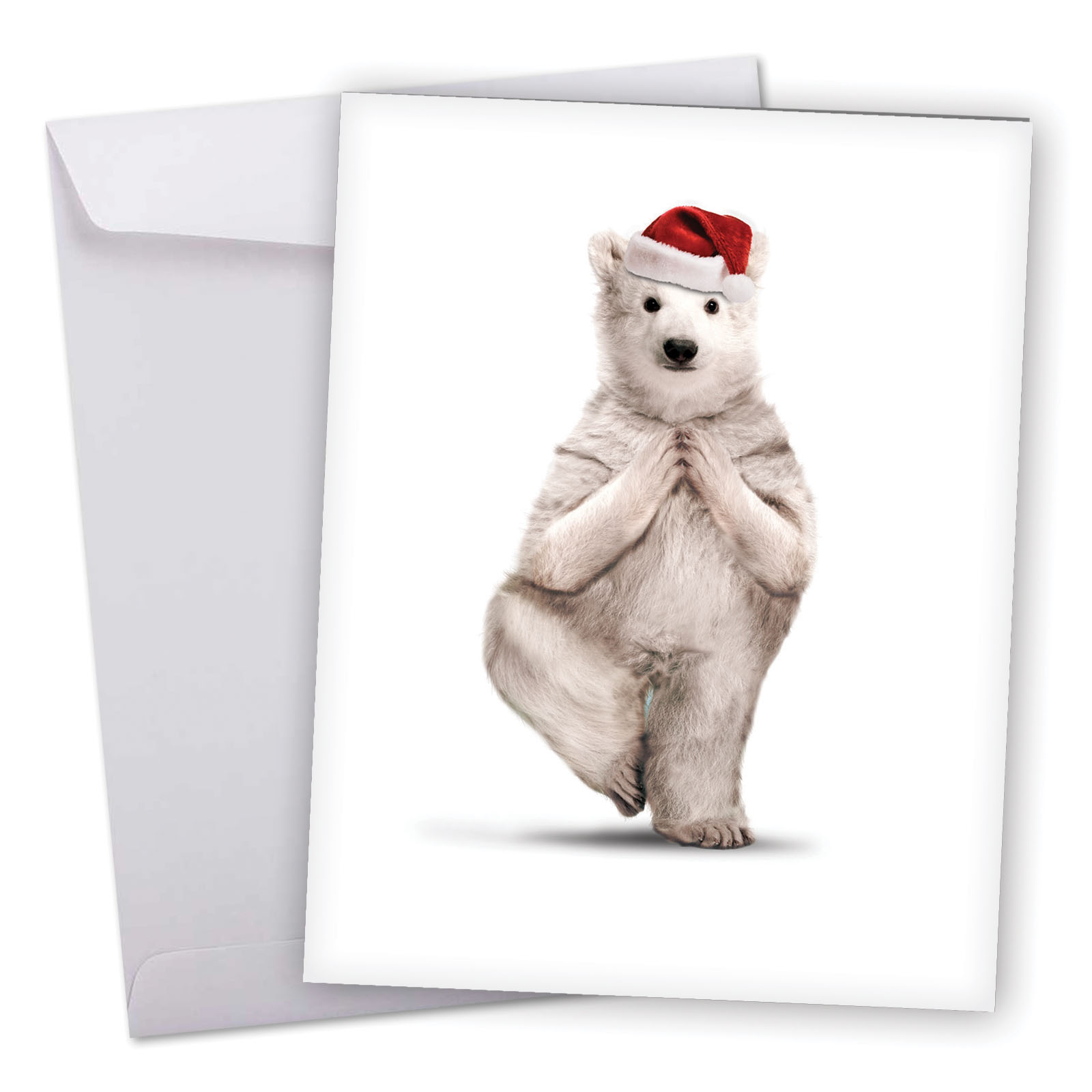 J6547jxsg Extra Large Merry Christmas Greeting Card Yuletide Zoo Yoga Featuring A Flexible Polar Bear Practicing A Yoga Pose While Wearing A Christmas Hat Greeting Card With Envelope By The Best Ca