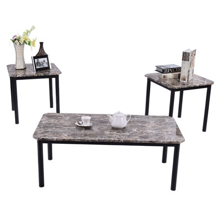 3 Piece Modern Faux Marble Coffee And End Table Set Living Room Furniture Decor
