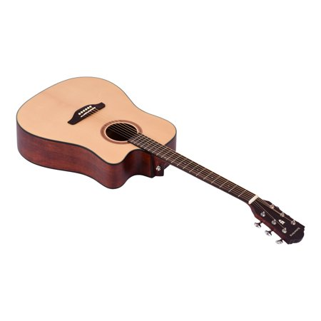 41inch Cutaway Acoustic Folk Guitar Spruce Wood Top Panel Mahogany Wood Backside Panel with Strap Bag Capo Picks Strings - image 4 of 7
