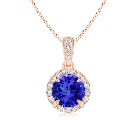 Holiday Sale - Claw-Set Round Tanzanite Pendant with Diamond Halo in 14K Rose Gold (6mm Tanzanite) - SP1213TD-RG-AAA-6
