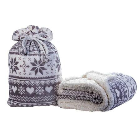 Snowflake Blanket (HYSEAS Snowflakes Print Sherpa Throw Blanket Storage Bag,)