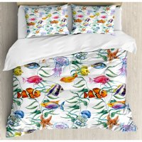 Ambesonne Ocean Animal Tropical Coral Reef with Seaweed Algae Jellyfish Aquatic Saltwater Nemo Theme Duvet Cover Set