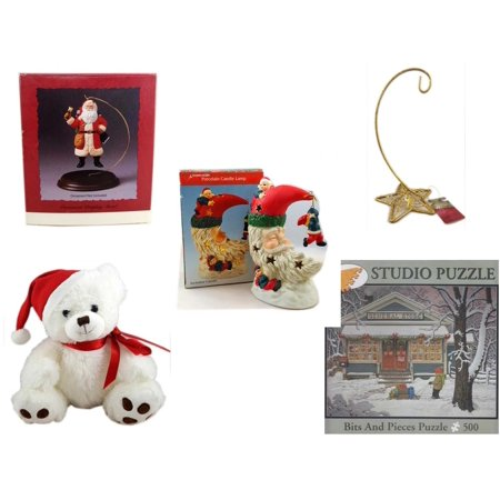 Five Star Base - Christmas Fun Gift Bundle [5 Piece] - Hallmark Ornament Display Stand - Gold Glitter Star Base Ornament Hanger - A Treasury of Gifts Santa Moon Porcelain Candle Lamp - White  Bear  9