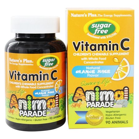 Nature's Plus - Source Of Life Animal Parade Children's Vitamin C Chewable Sugar-Free Natural Orange Juice Flavor - 90 Chewable Tablets
