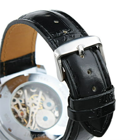 Mens Hand-winding Mechanical Watch White Dial Black Leather Strap Luxury Man ()