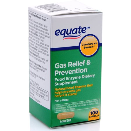 Equate Gas Relief   Prevention Food Enzyme Dietary Supplement Capsules  100 Ct