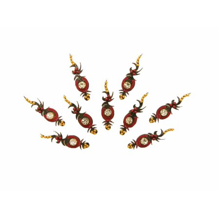Beachcombers Black Gold and Red Indian Bindi Tribal Belly Dance Body Sticker 9 - Bindis Halloween Dance