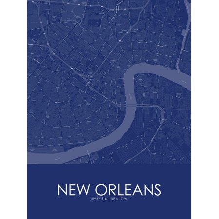 New Orleans, United States of America Blue Map Laminated Poster Wall Art ()