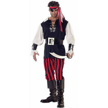 Cutthroat Pirate Men's Adult Halloween Costume - Skeleton Pirate Halloween Makeup