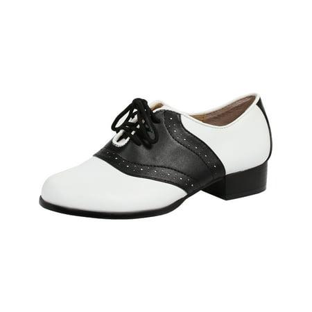 Women's Saddle Shoes with 4 Eyelet Lace Up and 1 Inch Heel Black White Two Tone - Saddle Shoes Women