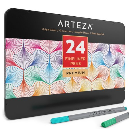 Arteza Fineliner Pens 24-Assorted-Colors (0.4mm Tips, Set of 24)