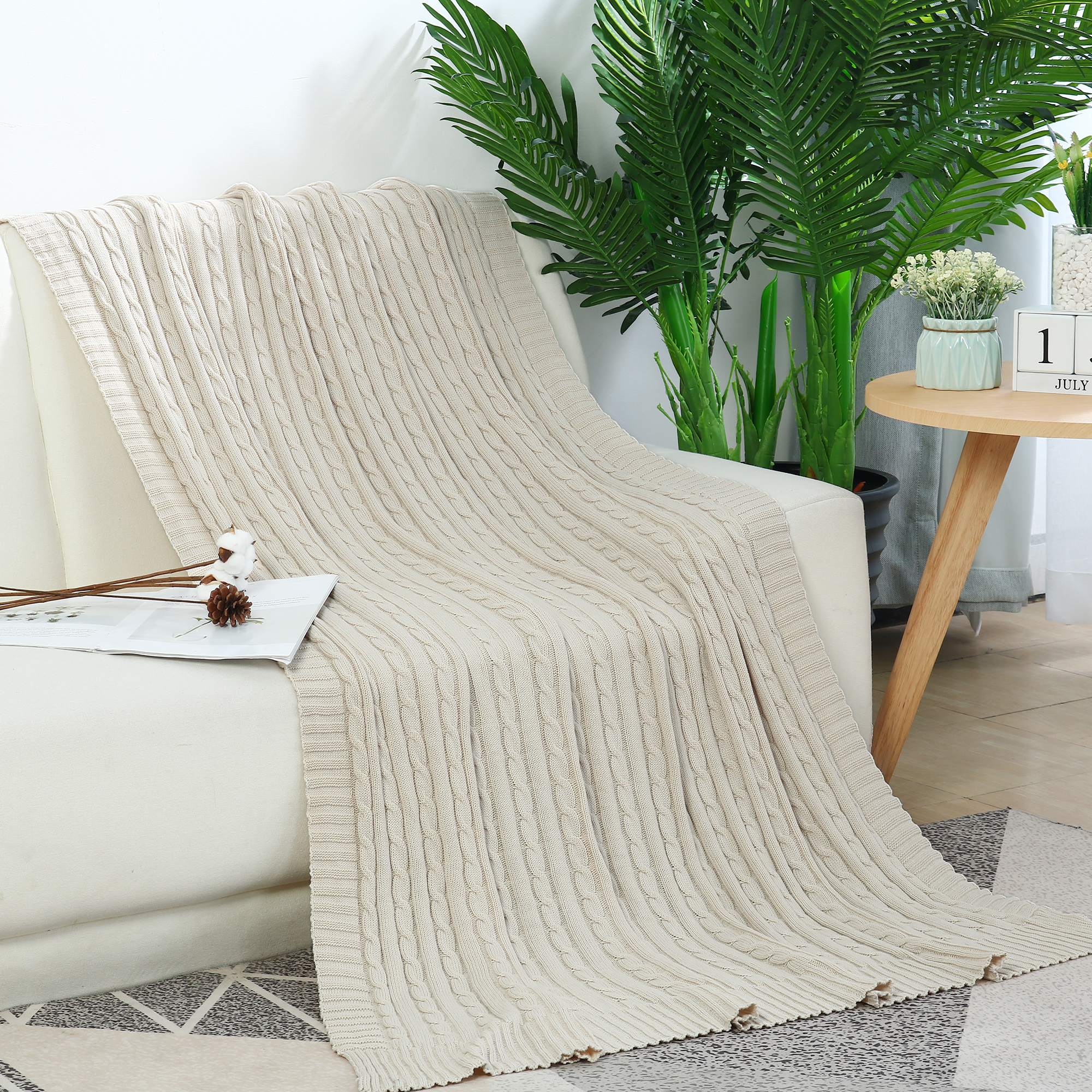 """Cotton Blanket Decorative Cable Knitted Throw Knit Blankets Blue, 70"""" x 78"""""""