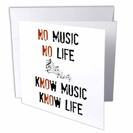 3dRose No music No life Know music Know life picture of music notes, Greeting Cards, 6 x 6 inches, set of 12