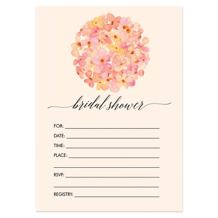 """25 Hydrangea Bridal Shower Invitations with Envelopes ( Pack of 25 ) Large 5x7"""" Fill In Peach Floral Wedding Excellent Value Invites by Digibuddha VI0037B"""