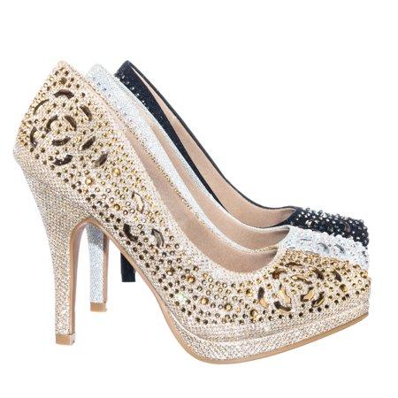 Cassie70 by Delicacy, Sparkling High Heel Dress Pump w Round Toe, Glitter & Rhinestones (Rhinestone Stripper Heels)